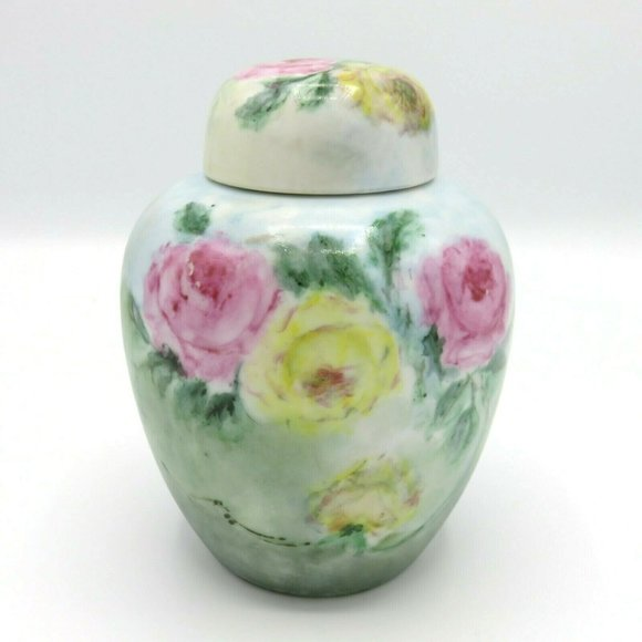 Vintage Handpainted Jones Pink Yellow Rose Flower